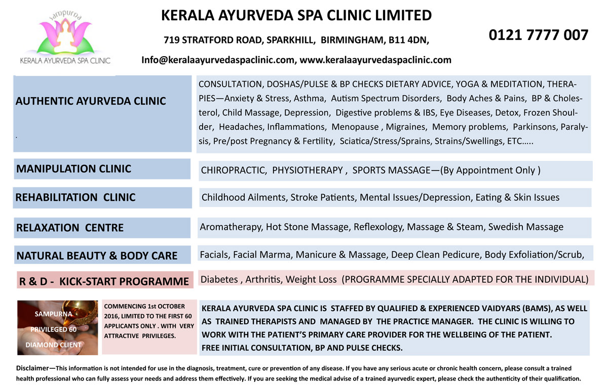 Treatments at Kerala Ayurveda Spa Clinic